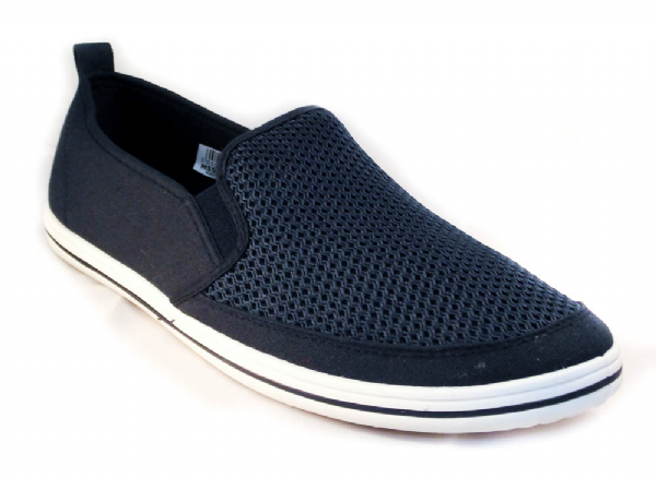 Navy twin gusset casual yachting shoe.